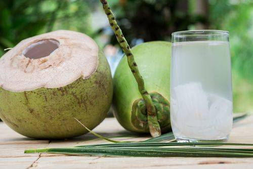 A glass of coconut water