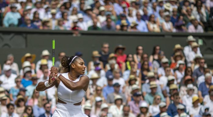 LONDON, ENGLAND - July 13:   Serena Williams of the United States in action against Simona Halep of Romania during the Ladies Singles Final on Centre Court during the Wimbledon Lawn Tennis Championships at the All England Lawn Tennis and Croquet Club at Wimbledon on July 13, 2019 in London, England. (Photo by Tim Clayton/Corbis via Getty Images)